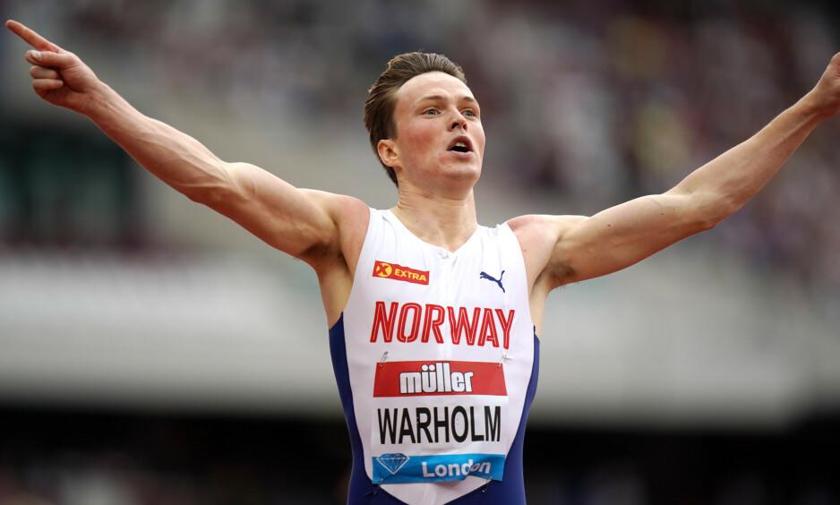 NY REKORD: Karsten Warholm var i storform i London, og tok ny europeisk rekord på 400 meter hekk. Foto: NTB Scanpix