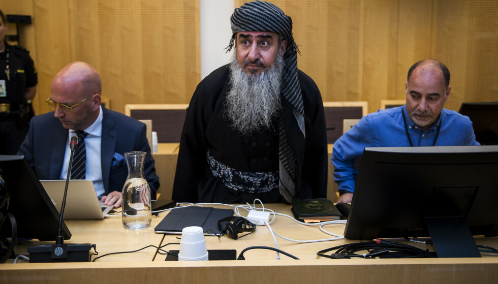 Advokat Brynjar Meling og Mulla Krekar i fengslingsmøte til Mulla Krekar i Oslo Tingrett 17. juli 2019. Foto: Carina Johansen / NTB Scanpix