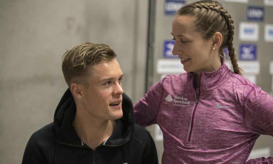EKTEPAR: Astrid Mangen Ingebrigtsen og Filip Ingebrigtsen har vært sammen siden 2012. Her fra innendørs NM i Bærum i 2018. Foto: Vidar Ruud / NTB scanpix