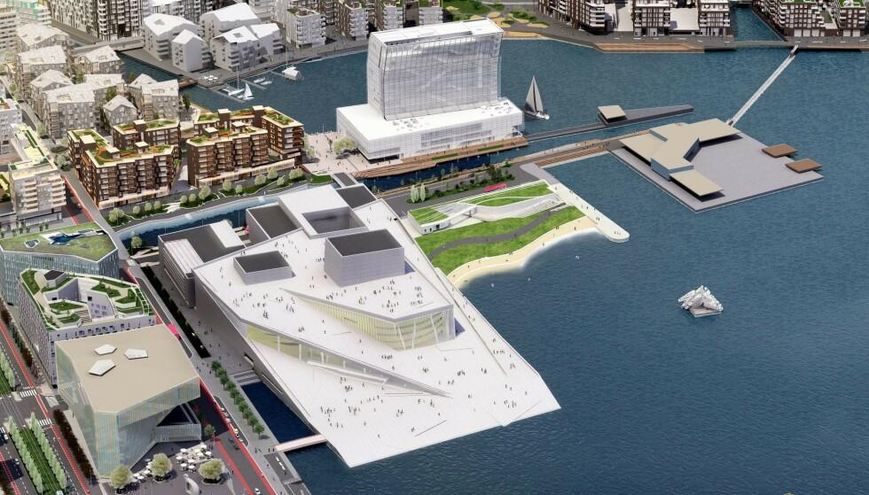 <strong>PÅ PYNTEN:</strong> Fotografihuset er tenkt plassert på Sukkerbiten, til høyre for det nye Munchmuseet. Illustrasjon: Bjørvika Utvikling