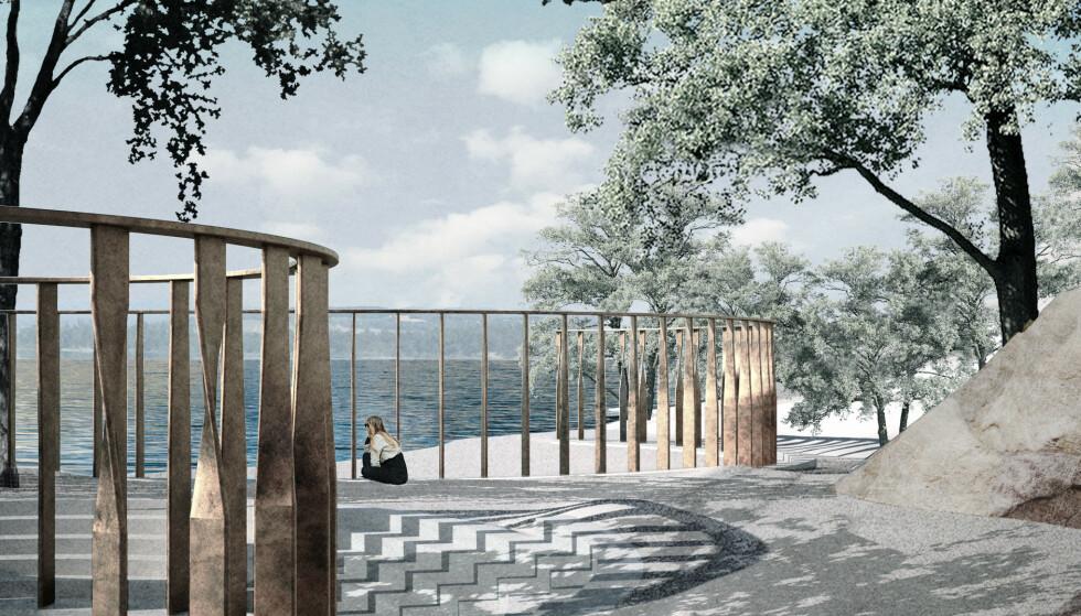 SKAPER SPLID: Slik er planene for minnesstedet ved Utøykaia, med 77 bronsesøyler til minne om de drepte. Illustrasjon: Manthey Kula Arkitekter / Statsbygg