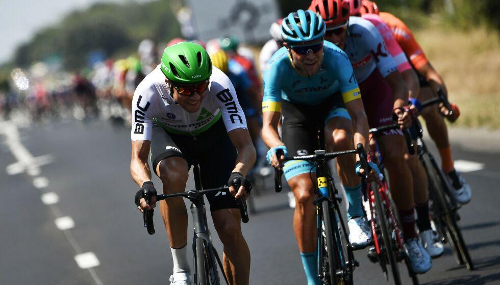 SKUFFET: Edvald Boasson Hagen kom seg med i det avgjørende bruddet, men var sjanseløs da etappen skulle avgjøres. Foto: JEFF PACHOUD / AFP