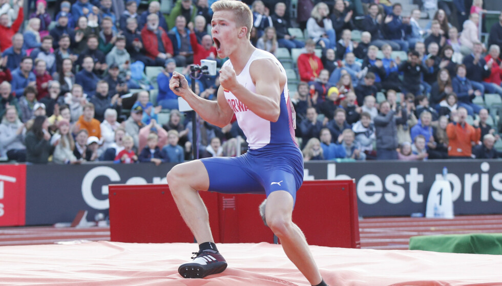 REKORD: Sondre Guttormsen satte ny norsk rekord i stav onsdag kveld. Her i aksjon i Bislett Games i juni. Foto: Vidar Ruud / NTB scanpix