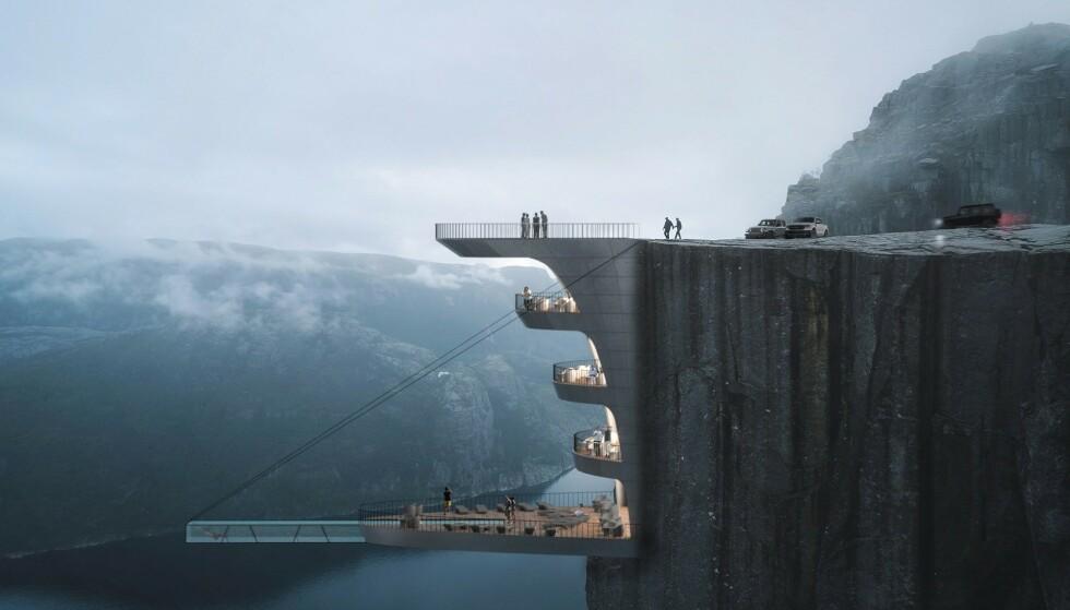 SPEKTAKULÆRT: 600 meter over Lysefjorden har Hayri Atak tegnet inn et hotell på kanten av Preikestolen. Foto: Hayri Atak