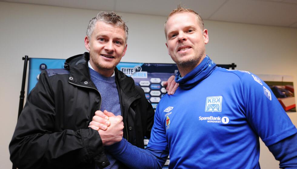 VENNER: Ole Gunnar Solskjær og Christian Michelsen leder lagene når Manchester United møter Kristiansund. Foto: NTB scanpix
