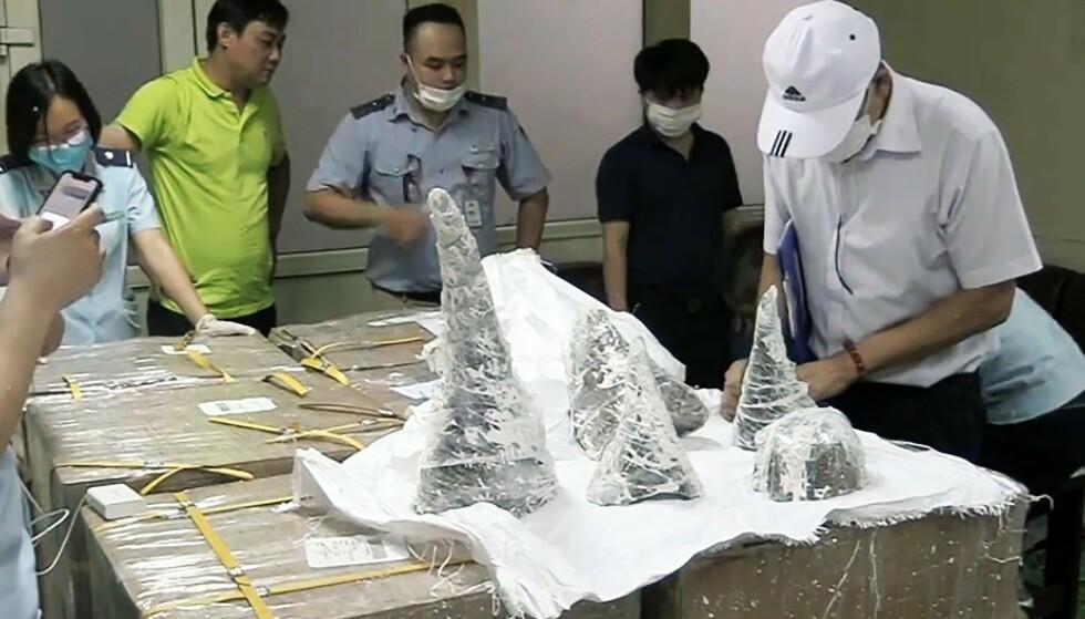 GJEMT I GIPS: På Noi Bai internasjonale flyplass fant tollerne 55 pakker med neshorn-horn. Foto: Vietnam News Agency / AFP