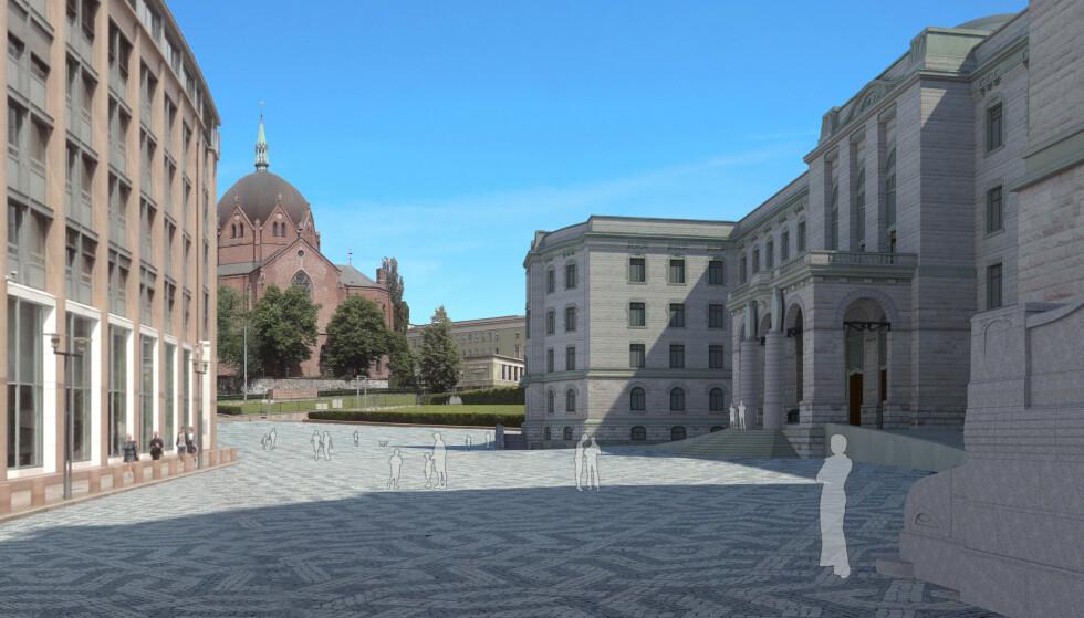 SKISSE: Slik mener man at Henrik Bulls regjeringspalass kan se ut. Foto: Folkeaksjon for ferdigstillelsen av Henrik Bulls regjeringspalass