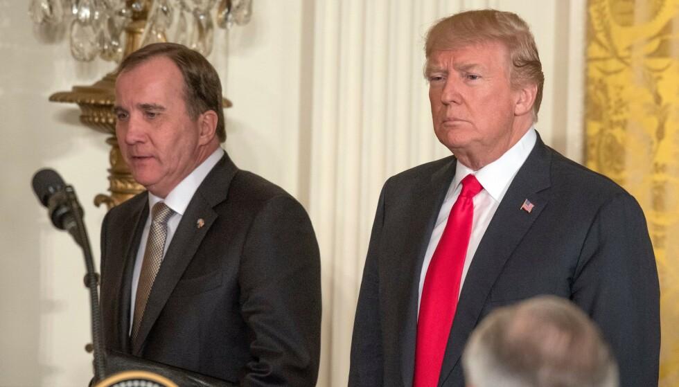 SNAKKET SAMMEN: Donald Trump og Stefan Löfven har forskjellige oppfatninger av hvordan rettssystemet bør fungere. Nå forteller sistnevnte om samtalen med den amerikanske presidenten. Foto: NTB Scanpix