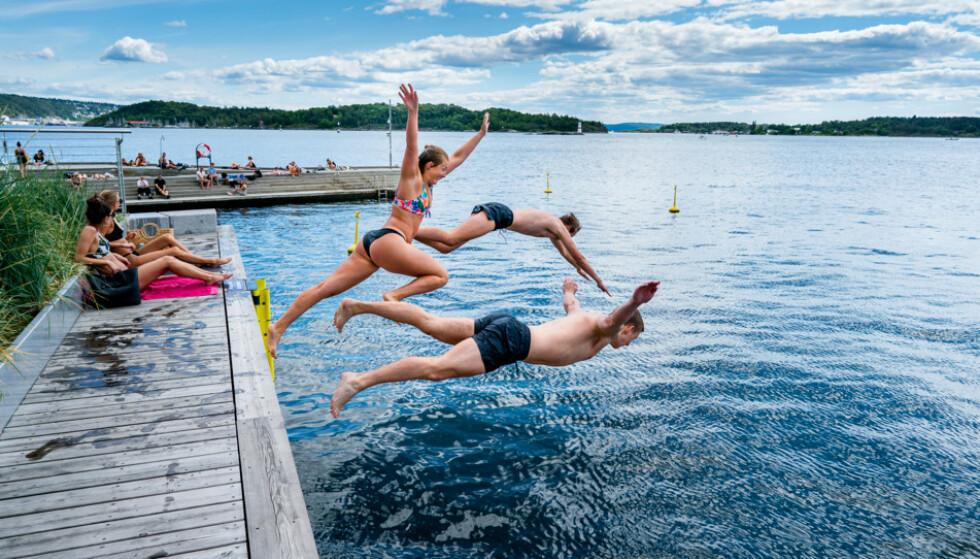 TROPEVARME: Ifølge meteorologen vil varmen som var i helga, ikke komme tilbake. Her fra Sørenga i Oslo. Foto: John T. Pedersen / Dagbladet