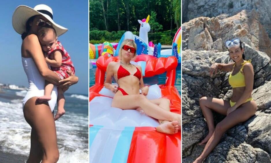 NYTER SOMMERTIDEN: Eva Longoria, Miley Cyrus og Kourtney Kardashian er bare noen av svært mange superstjerner som i disse dager farter verden rundt og nyter late feriedager. Foto: NTB Scanpix