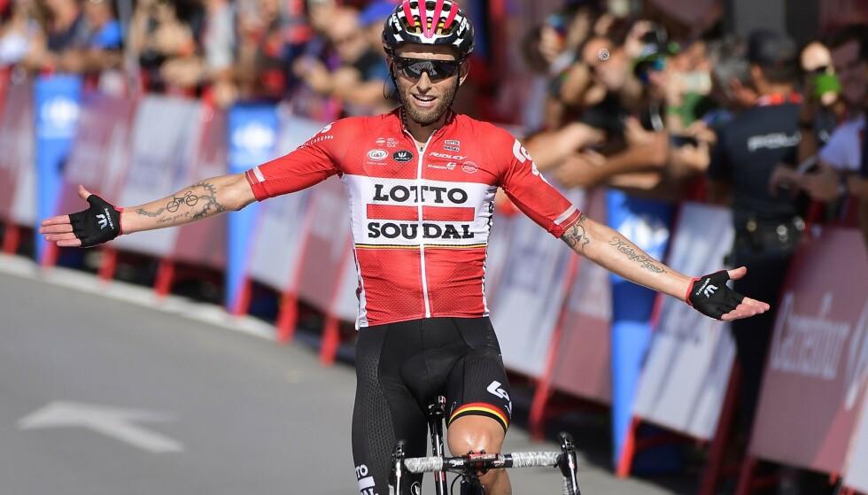 LOTTO-VETERAN: Tomasz Marczynski feiret etappeseier i Vueltaen i 2017. Nå forbereder han seg til avslutningen av året sesong. Foto: NTB Scanpix