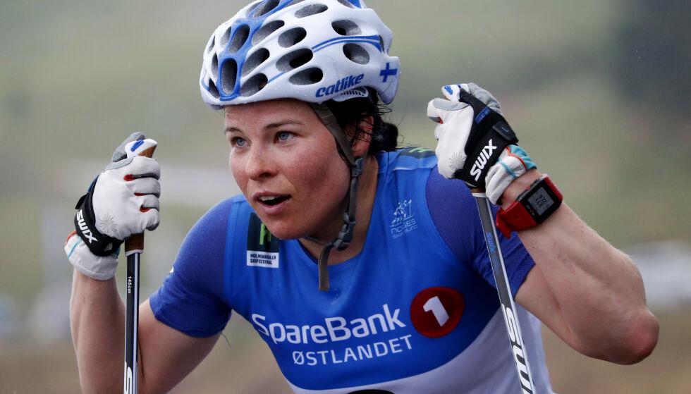 I SORG: Krista Pärmäkoski er svært trist etter Mona-Liisa Nousiainens dødsfall. Her fra Holmenkollen Skishow i 2018. Foto: Cornelius Poppe / NTB scanpix