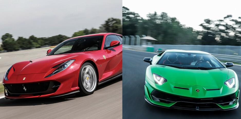 LEVERES: Både Ferrari 812 Superfast (den røde), og en Lamborghini Aventador SVJ er blant bilene som leveres til norske kunder i år, ifølge forhandlerne. Foto: Produsentene