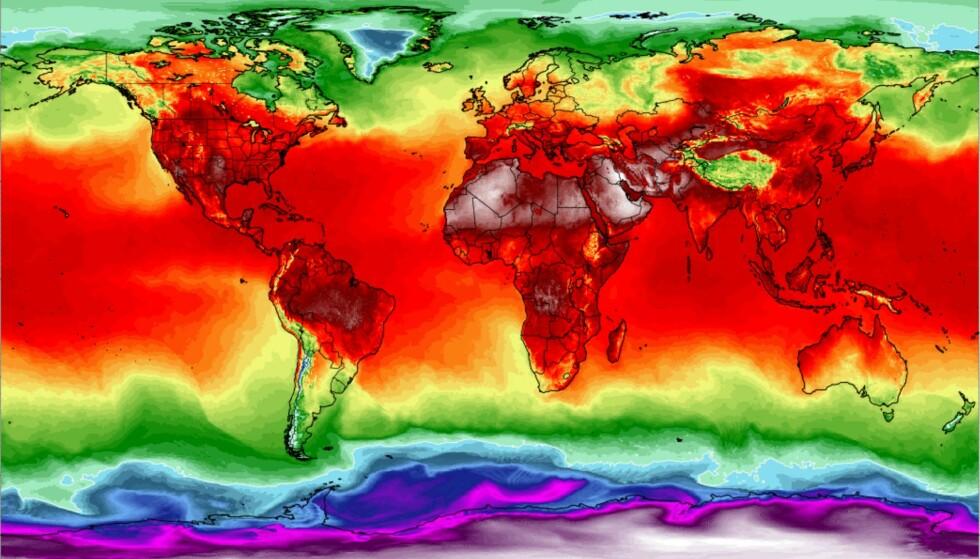 SMELTER: Etter hetebølgen i Europa har høytrykket flyttet seg til Grønland; der smelter isen dobbelt så fort som i en vanlig julimåned. Her værkart fra 2. august. Foto: Climate Change Reanalyzer, University of Maine