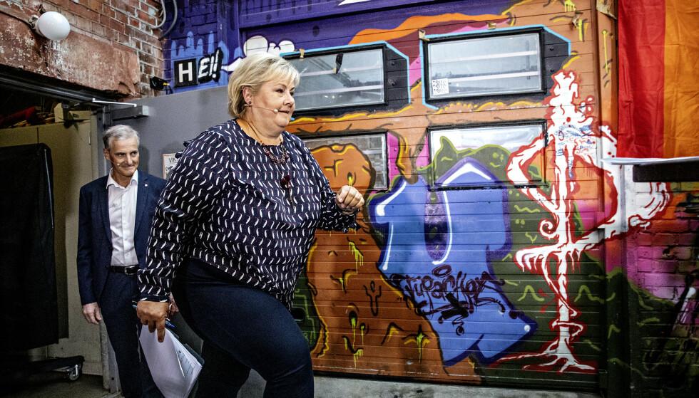 BOM: Statsminister Erna Solberg (H) kom med feilaktige påstander om Trondheim i valgkampens første duell med Ap-leder Jonas Gahr Støre på Blå mandag, mener Trondheims Ap-ordfører Rita Ottervik. Foto: Nina Hansen