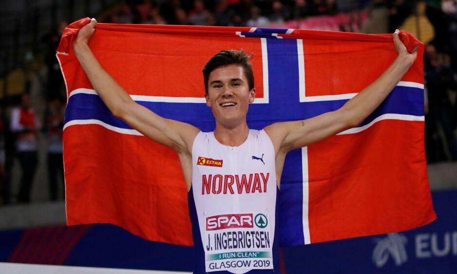 VANT: Jakob Ingebrigtsen har hatt en svært god måned på friidrettsbanen. Foto: NTB Scanpix