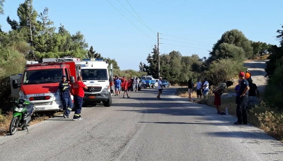FUNNSTEDET: Stort politioppbud i nærheten av der kvinnens kropp ble funnet. Foto: AP / NTB Scanpix