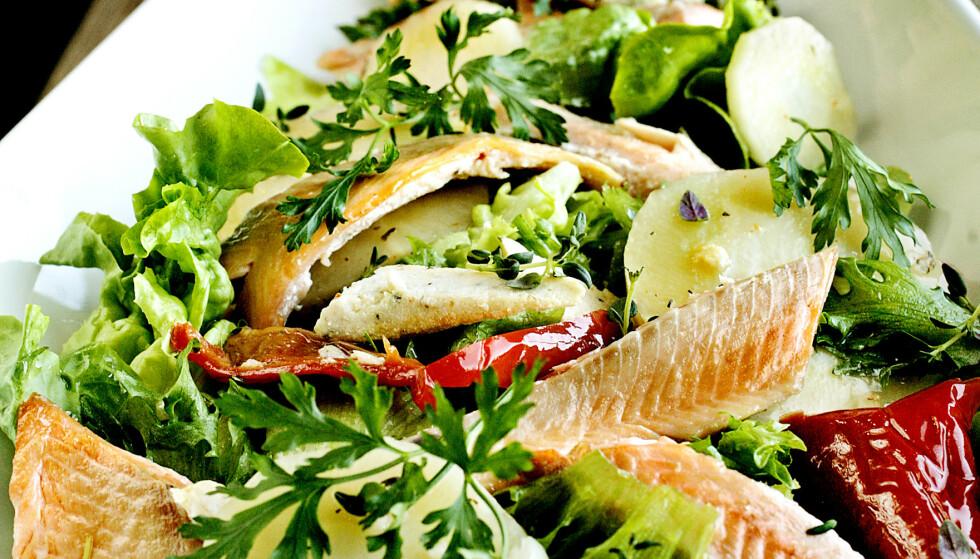 GODT FOR KROPPEN: Forskerne anbefaler fisk to ganger i uka, for eksempel i form av salat med kokt ørret og syltete grønnsaker.  Foto: Mette Møller