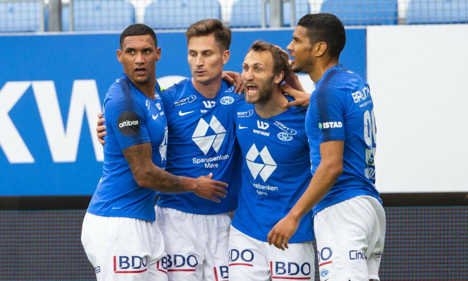 MÅLFEST: Molde slo Aris 3-0 og har gode muligheter til å ta seg videre i Europa League-kvalifiseringen. Foto: NTB Scanpix