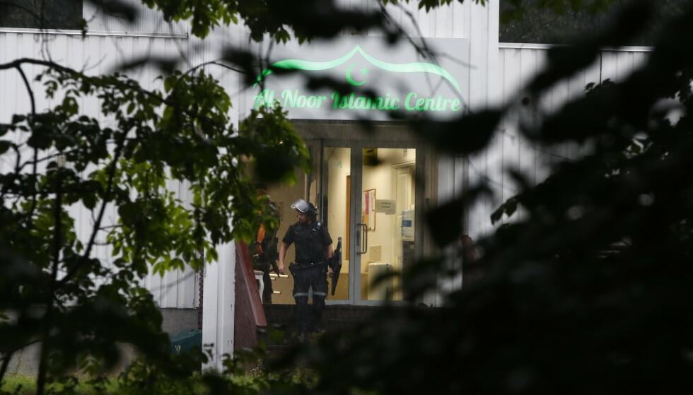 PÅGREPET: En person ble lørdag ettermiddag skutt inne i moskeen al-Noor Islamic Centre i Bærum. Skadeomfanget er ukjent. Politiet har pågrepet en gjerningsmann. Foto: NTB Scanpix