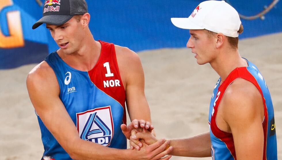 FINALEKLARE: Anders Berntsen Mol og Christian Sørum er klar for EM-finale. Foto: Christian Charisius/dpa / NTB scanpix