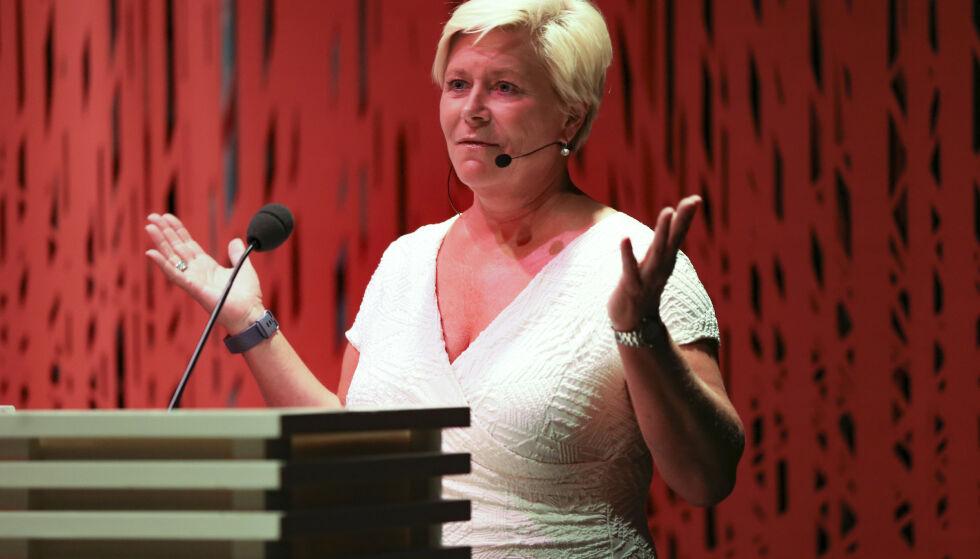Foredrag: FrP-leder Siv Jensen holder sitt partilederforedrag på Litteraturhuset tirsdag ettermiddag. Foto: Ørn E. Borgen / NTB scanpix