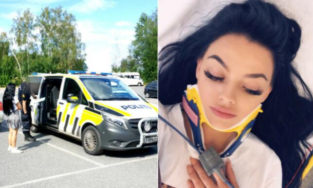 SENDT TIL LEGEVAKTA: Toppbloggeren ble sendt til legevakta etter å ha snakket med politiet. Derfra ble hun sendt til sykehuset, der hun fikk konstatert hjernerystelse. Foto: Privat, gjengitt med tillatelse