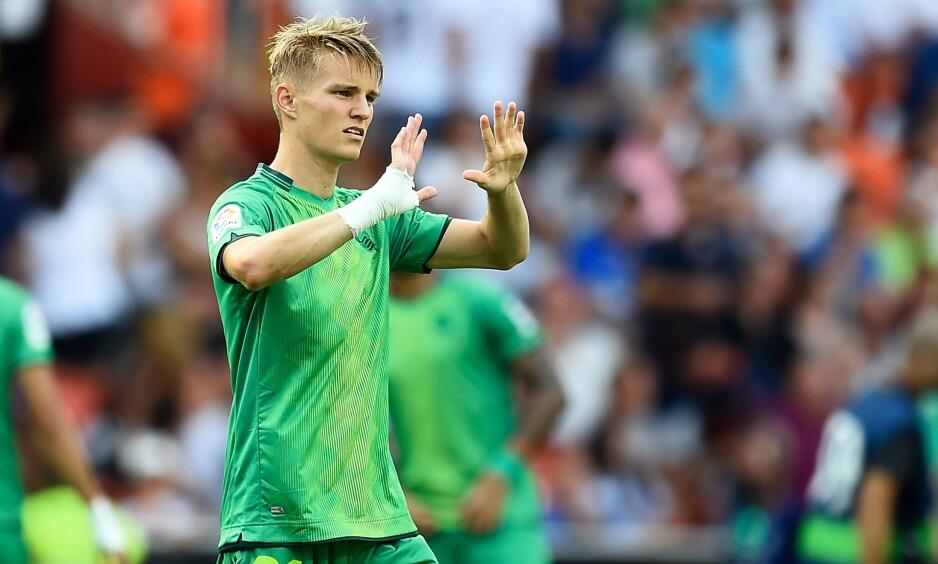 LEVERTE VARENE: Martin Ødegaard har all grunn til å være fornøyd med debuten for Real Sociedad. Foto: NTB scanpix