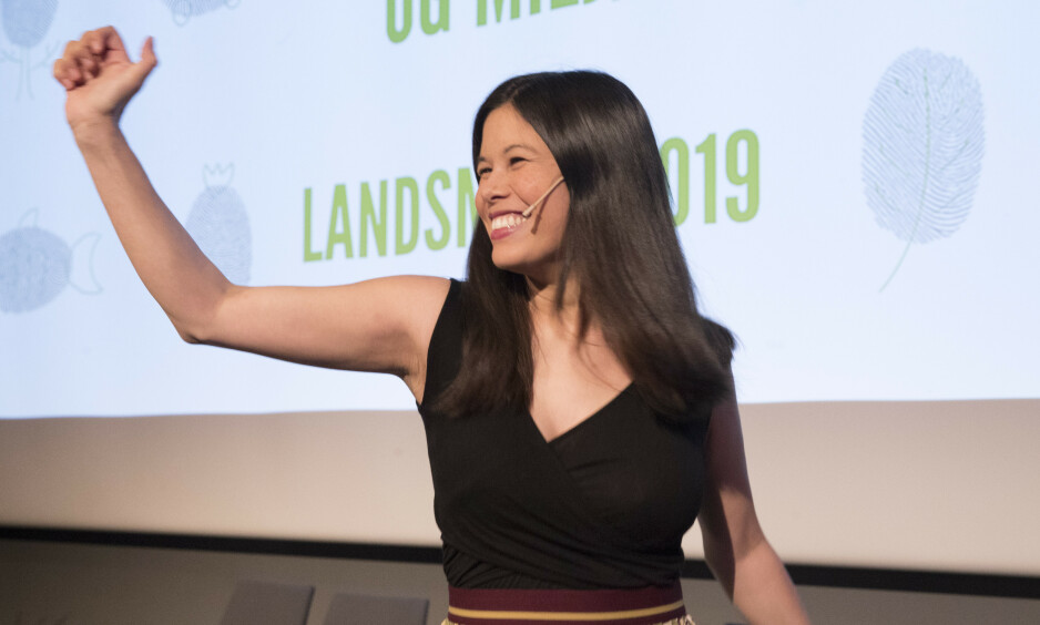 FOSSER FRAM: ;MDG gjør det godt på ny måling. Her er Lan Marie Nguyen Berg på landsmøtet til Miljøpartiet De Grønne. Foto: Terje Bendiksby / NTB scanpix