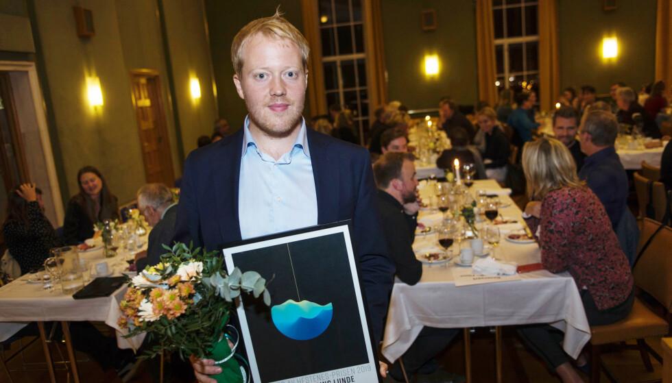 PRISVINNER: Anders Firing Lunde i Morgenbladet er årets Hestnesprisvinner. Foto: Grethe Nygaard / Den norske filmfestivalen i Haugesund