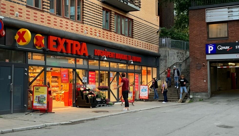 DØGNÅPEN: Coops Extra i Bogstadveien er døgnåpen - og ubemannet på natten. Grandiosa topper lista for dem som benytter seg av tilbudet. Foto: Elisabeth Dalseg