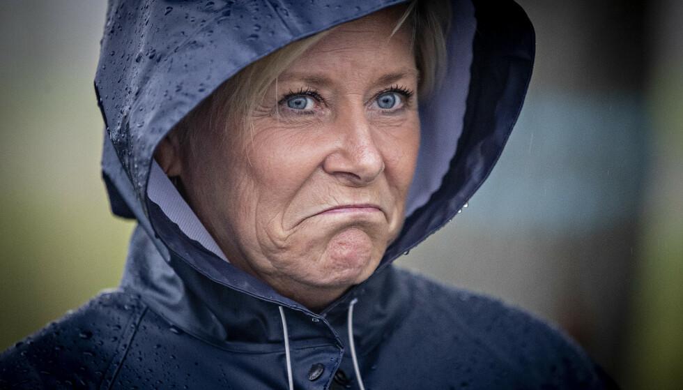 FREXIT?: Siv Jensen har denne uka stått knallhardt på at hun og Frp ikke vil forhandle mer om bompenger etter at landsstyret hennes søndag stemte gjennom bompengeskissen. Det kan bety slutten for dagens borgerlige flertallsregjering. Foto: Bjørn Langsem / Dagbladet