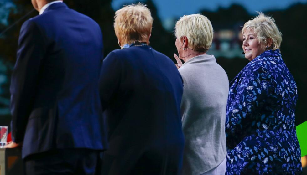 Erna Solberg (H), Siv Jensen (Frp), Trine Skei Grande (V) og Kjell Ingolf Ropstad (KrF) under partilederdebatten fra Arendalsuka mandag kveld. Foto: Håkon Mosvold Larsen / NTB scanpix