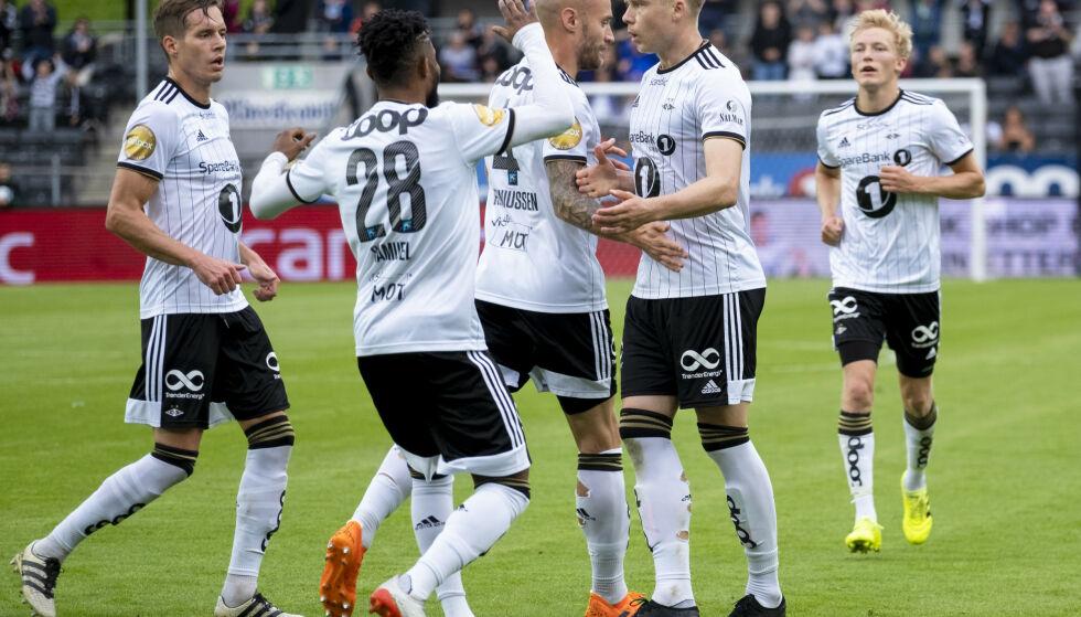 SEIER: Rosenborg jubler for 1-1-utlikning mot Stabæk lørdag. Foto: Ned Alley / NTB scanpix