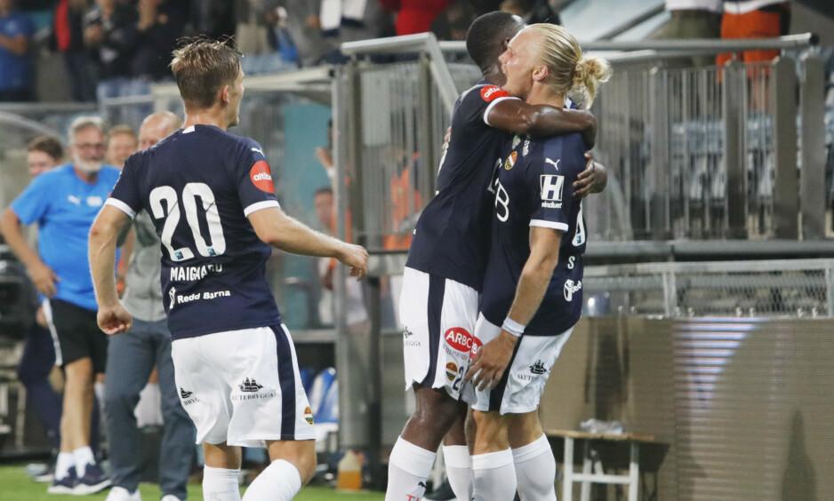 SCORET: Lars-Jørgen Salvesen ble matchvinner for Strømsgodset mot gamle lagkamerater. Foto: Terje Bendiksby / NTB scanpix