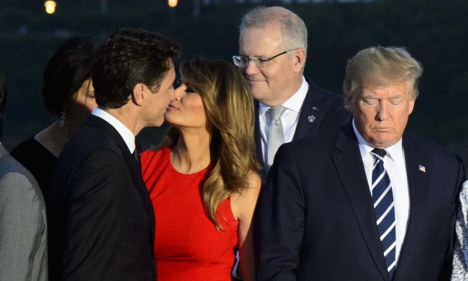OI SANN ...: Da Melania Trump skulle hilse på den kanadiske statsministeren Justin Trudeau i helga, så det ut som det gikk hett for seg. Det koser internettes hobbykomikere seg stort med nå. Foto: NTB scanpix