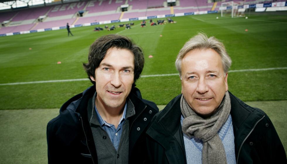 FERDIG: Roar Stokke (t.v.) og Vidar Davidsen under en trening med landslaget. Førstnevnte er ferdig med samarbeidet i Ranheim. Foto: Jon-Michael Josefsen / NTB