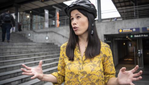 VINTERSYKLIST: Lan Marie Berg sykler sommer som vinter, men Oslo-folk har fortsatt langt igjen til å nå MDG-målene for andelen sykkelreiser året rundt. Foto: Lars Eivind Bones / Dagbladet