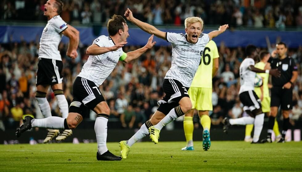 JUBEL: For RBK-spillerne Birger Meling og Mike Jensen. Foto: Ole Martin Wold / NTB scanpix