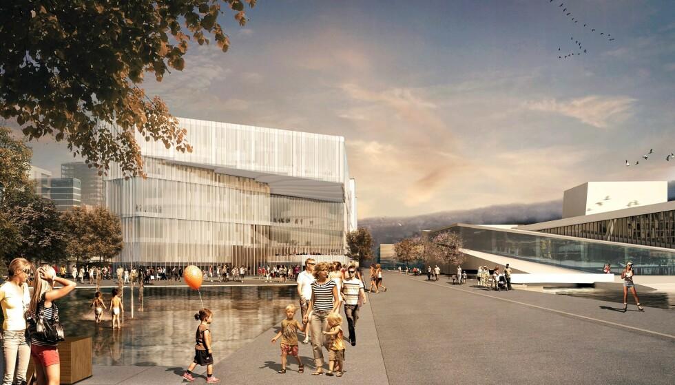 TEGNINGEN: Slik så arkitektkontorets illustrasjon av nye Deichmanske hovedbibliotek ut. Illustrasjon: Lund Hagem Arkitekter, Atelier Oslo 2022