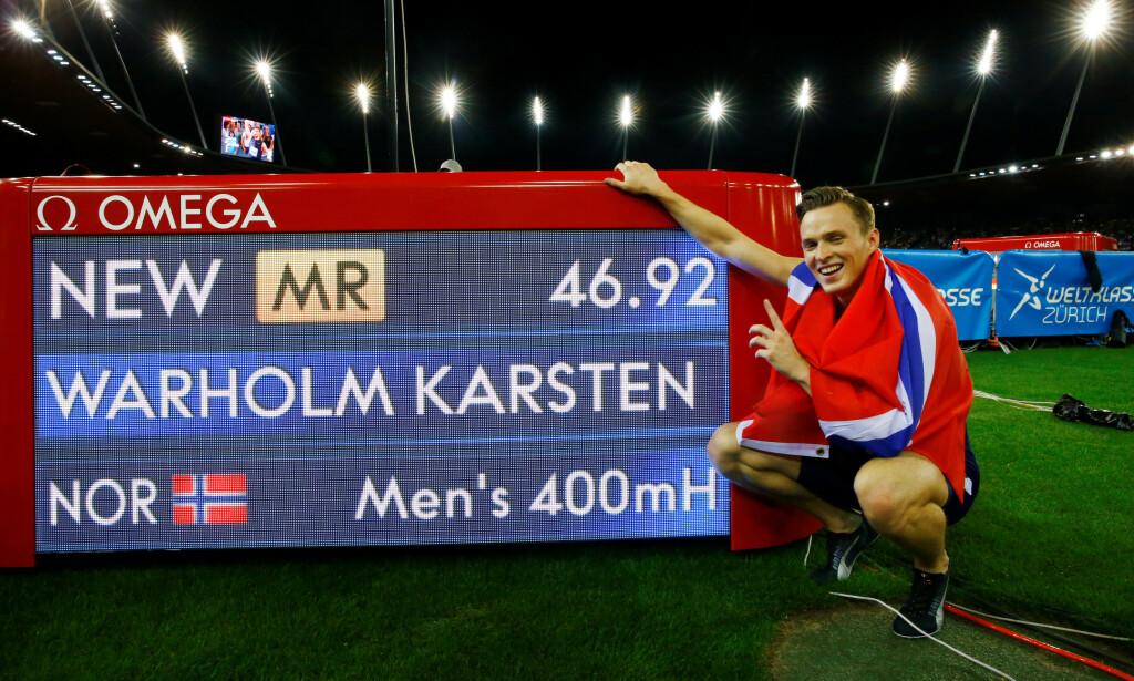 BRA NOK REN: Karsten Warholm satt en ny standard for det som er mulig å oppnå på 400 meter hekk selv om du er en garantert ren idrettsutøver. FOTO: Reuters/Arnd Wiegmann