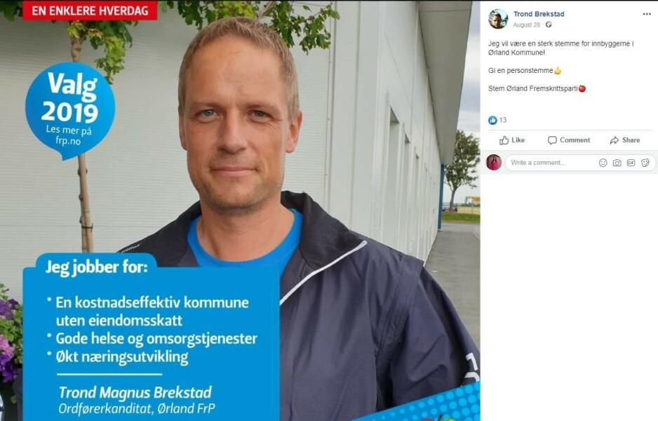 TIDLIGERE DØMT: Fremskrittspartiets ordførerkandidat, Trond Magnus Brekstad, er tidligere dømt for svindel. Foto: Privat