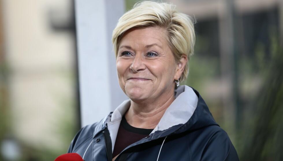 I VALGBODEN: Frp-leder Siv Jensen møtte i Dagbladets valgbod tirsdag. Foto: Nina Hansen/Dagbladet