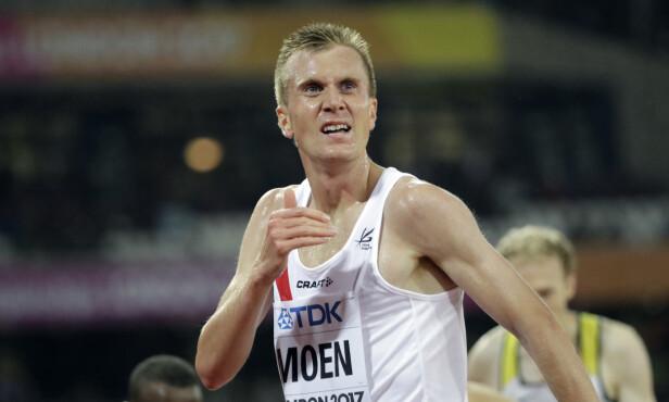 Norway's Sondre Nordstad Moen after Men's 5000m heat during the World Athletics Championships in London Wednesday, Aug. 9, 2017. (AP Photo/David J. Phillip)