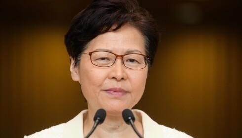 STOPP: Hongkongs øverste leder Carrie Lam trekker lovforslaget om utlevering til Kina. Foto: AFP / NTB Scanpix
