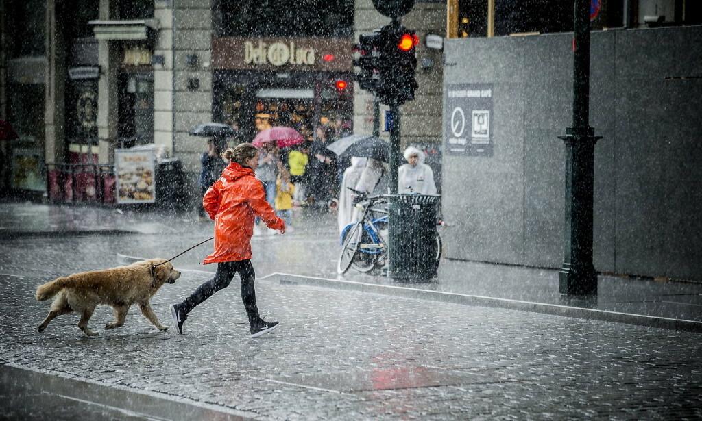 UVÆR: Store deler av Østlandet vil onsdag få kraftig regnvær. Her fra en av regnskurene som traff Oslo forrige sommer. Foto: Bjørn Langsem / Dagbladet