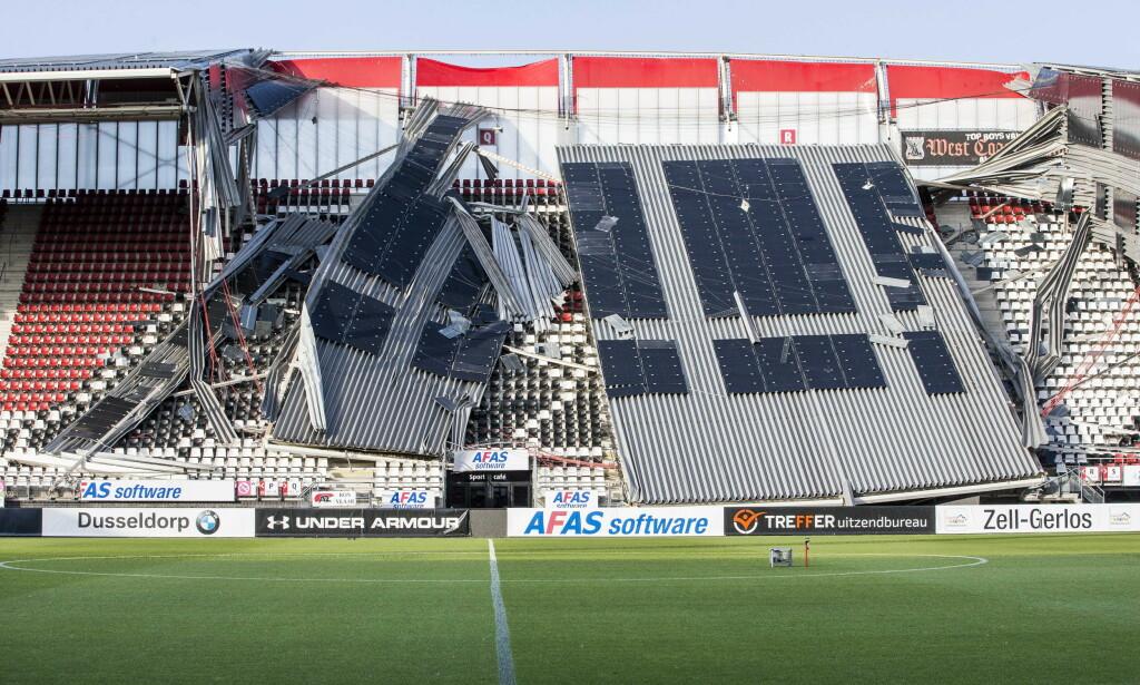 MEKTIGE KREFTER I SVING: Folk på tribunen ville blitt drept momentant hvis de hadde sittet under konstruksjonene som raste sammen. Foto: NTB Scanpix