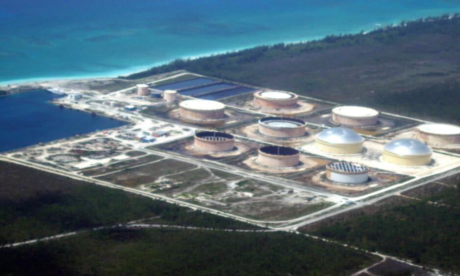 SOUTH RIDING POINT: Slik ser Equinors terminal på Bahamas ut. Bildet er tatt før orkanen Dorians herjinger. Foto: Tor Martin Anfinnsen / Equinor