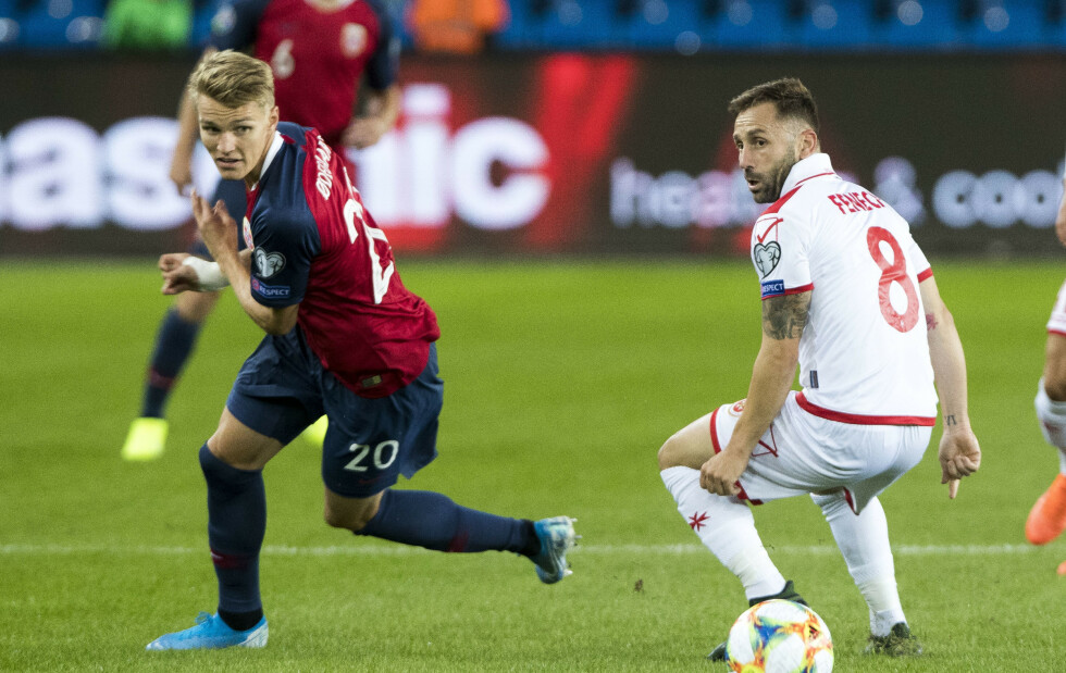 SEIER - MEN IKKE MER: Martin Ødegaard og Norge slo Malta 2-0 i EM-kvalifiseringen i går kveld. Foto: Terje Pedersen / NTB scanpix
