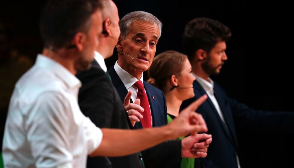 PARTILEDERDEBATT: Fredag var det duket for den siste debatten mellom partilederne før mandagens valg. Foto: NTB Scanpix